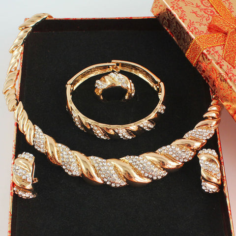 Women Gold Color Jewelry Set Wedding Accessories