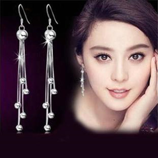 Silver female models long beads earrings