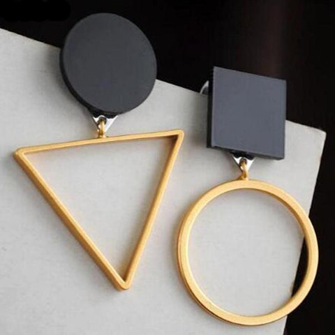 Brand Punk Fashion Triangle Round Drop Earrings