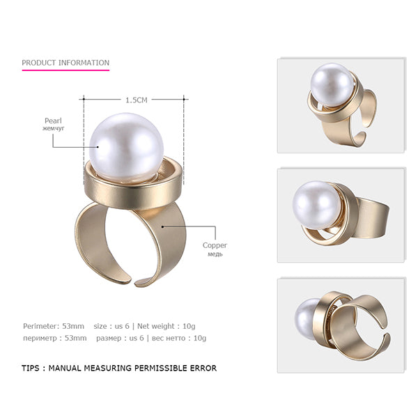 Geometric Statement Cuff Rings for Women