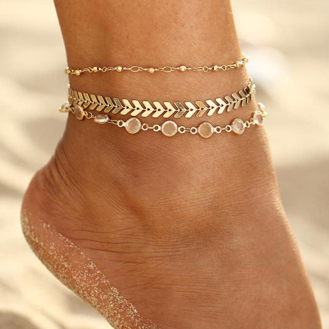Crystal Sequins Anklet Set