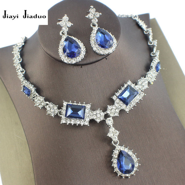 Silver color Necklace earrings Wedding jewelry