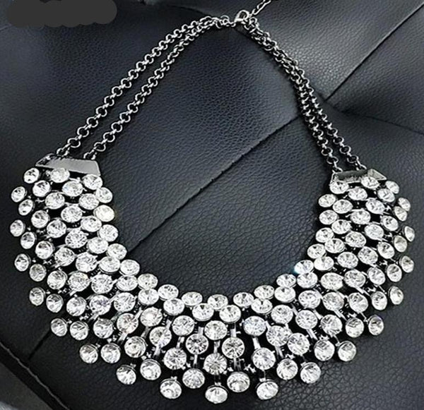 Trendy Crystal Statement Chain Necklace