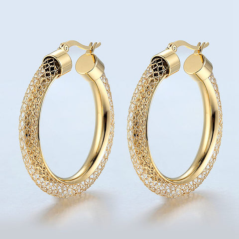 Net Round Pattern Hollow Hoop Earrings