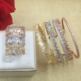 Women Baguette Bracelet Bangle And Ring Set