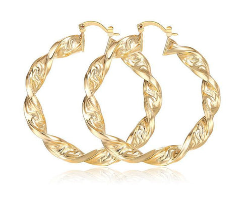 Hoop Earrings Twisted Gold Color For Women