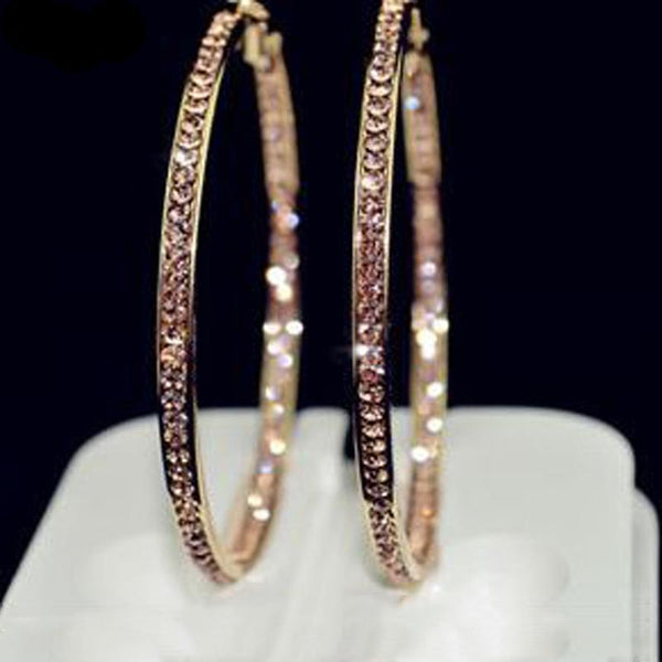 Big Circle Gold Color Hoop Earrings For Women