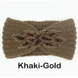 Women's Beaded Knitted Wool Headbands