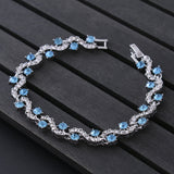 Luxury Blue Crystal Bracelet For Wedding