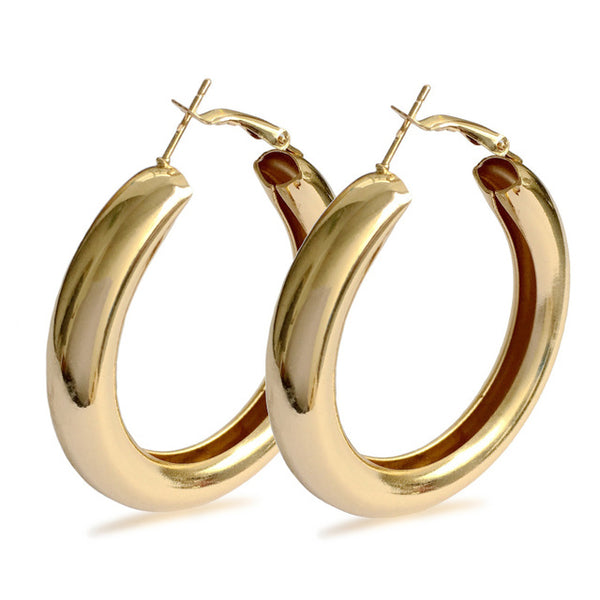 Diameter Wide Alloy Punk Hoop Earrings