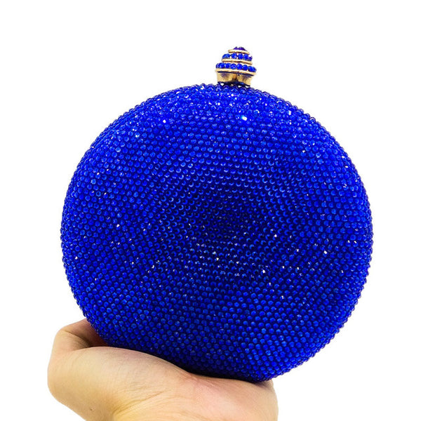 Round Crystal Clutch Evening Bag Mini Metal