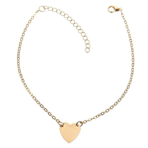 Anklet Chain Girl Silver Gold Heart Foot Bracelets