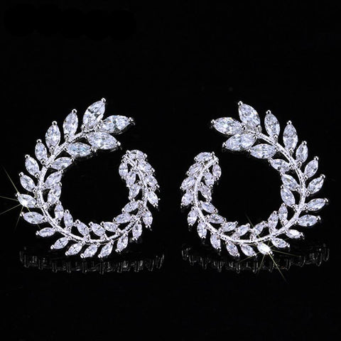 Sparkly Olive Branch Leaf Shape Earrings For Women