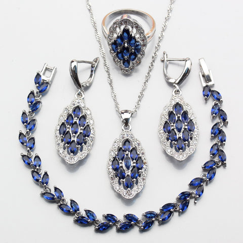 Unique Impressive Blue Zircon Crystal Jewelry Set