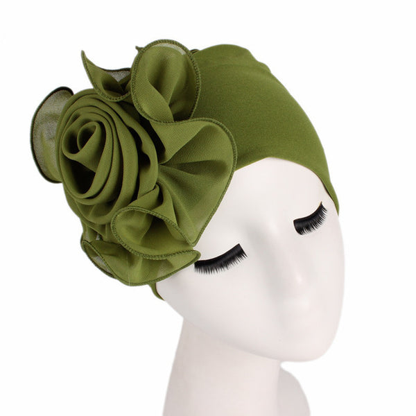 New Women Large Flower Stretch Scarf Hat
