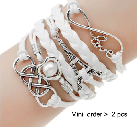 New fashion jewelry infinite double leather