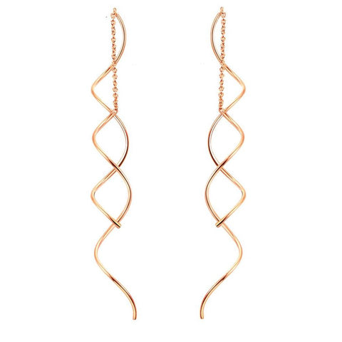 Top Quality Simple Spiral Ear Line Rose Gold Color Earrings