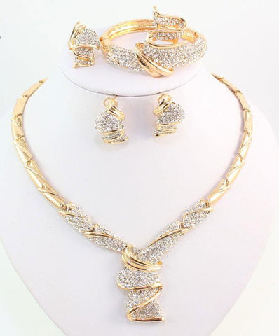 Gold Color Alloy Wedding Jewelry Sets Necklace