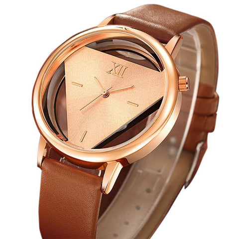Ladies Casual Dress Leather Strap Clock