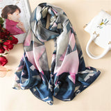 Women Luxury Silk Scarf Digital Print Oversize Long Shawl