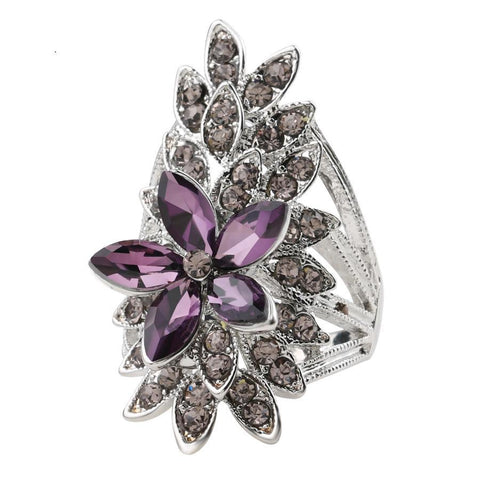 Fashion Crystal Flower Rings For Women