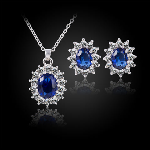 Fashion Silver Blue Crystal Jewelry Sets