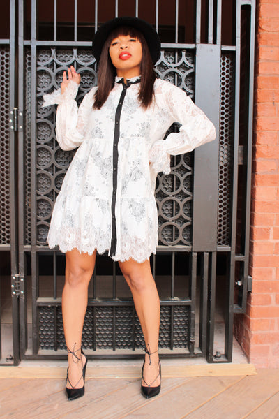 """Alana"" Wht/Blk Contrasting Lace Baby Doll Dress"