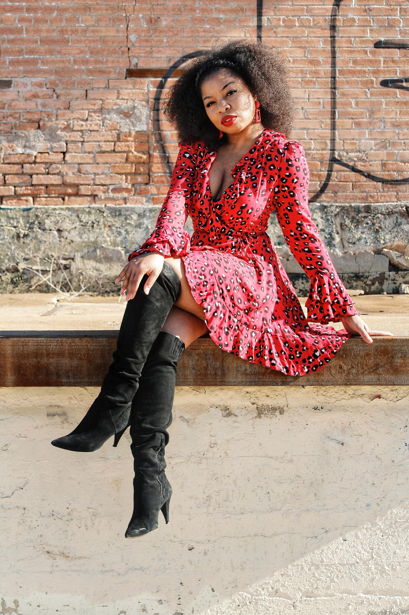 """Wild One"" Red Leopard Print Wrap Dress"