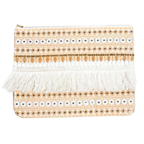White and Gold Embroidered Fringe Clutch HAndbag