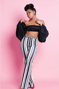 Black and White Vertical Striped High Waist Stretch Pants
