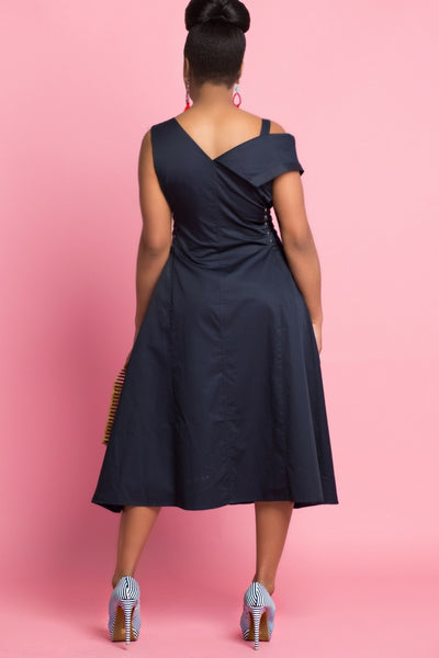 Navy Asymmetric Side Lace Up Midi Dress