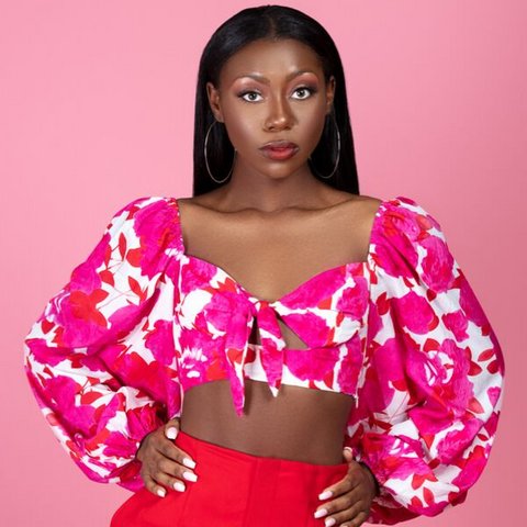 Red And Pink Floral Tie Front Crop Top Blouse