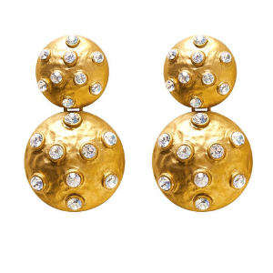 Antique Gold Rhinestone Studded Drop Earrings