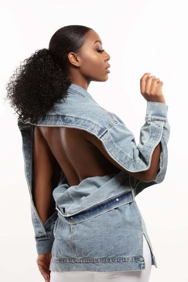 Open Back Light Wash Denim Jacket