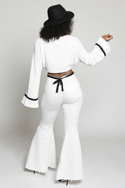 Black And White Contrast Crop Sweater With Side Ties