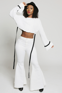 """/""""Sacred Hearts/"""" Cream Cropped Bodice and Wide Leg Pants Set"""