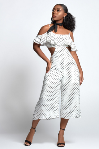 Polka Dot Open Ruffle Shoulder Exposed Sides Wide Leg Romper