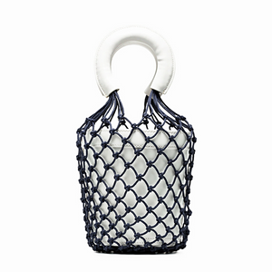 Navy And White Leather And Net Bucket Bag