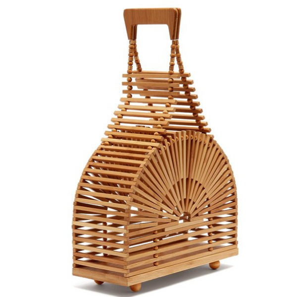 Dome Shaped Open Weave Bamboo Handbag