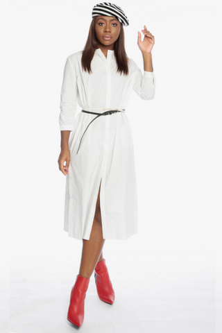 White Button Down Maxi Shirt Dress