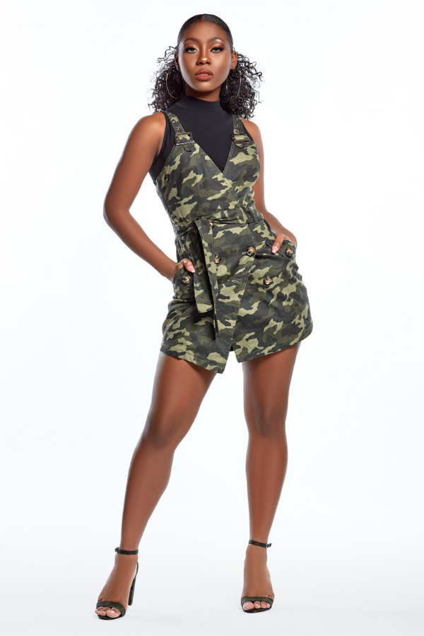 Army Print Camo Wrap Dress