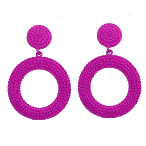 Pink Textured Circular Drop Earrings