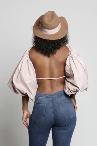 PUFF BALLOON SLEEVE OPEN BACK CROP TOP