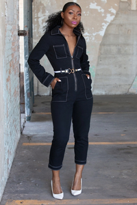Black And White Contrast Stitch Jumpsuit