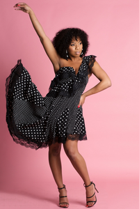 Polka Dot One Shoulder Ruffle Asymmetric Hem Flounce Dress