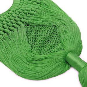 Green Angelou Tasseled Crochet Clutch