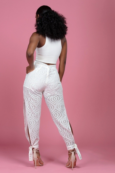 High Waist Side Slit Lace Pants