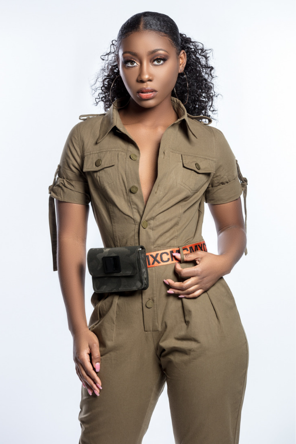 Khaki Army Green Button Down Jumpsuit Boiler Suit