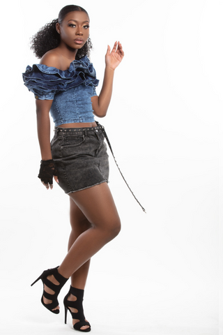 """Punky B."" Acid Wash Denim Ruffle Top"