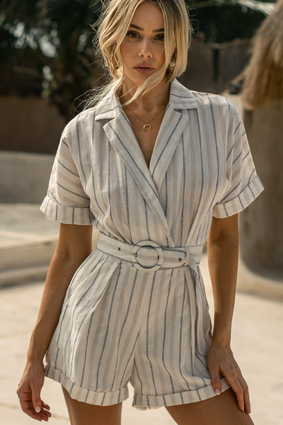 """Sienna"" Cream Striped Playsuit"